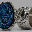 Arty Oval Ring Druzy Style Blue Green Silver Artsy Designer Chunky Deco Knuckle Art Statement Sz 8.5