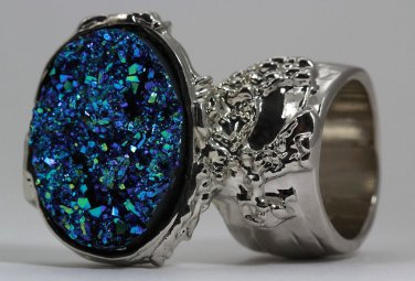 Arty Oval Ring Druzy Style Blue Green Silver Artsy Designer Chunky Deco Knuckle Art Statement Sz 9.5