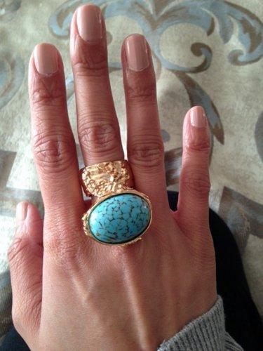 Arty Oval Ring Turquoise Vintage Glass Gold Designer Knuckle Art Chunky Armor Statement Size 8