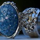 Arty Oval Ring Blue Glitter Opal Vintage Designer Silver Chunky Armor Knuckle Art Statement Size 8.5