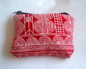 Red and White Batik Zipper pouch