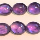 Set of FIVE 6 x 4 mm Amethyst Cabochons