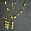golden copper bead jewelry set # 321