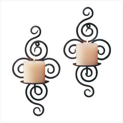 Scrollwork Wrought Iron Sconces - Pair