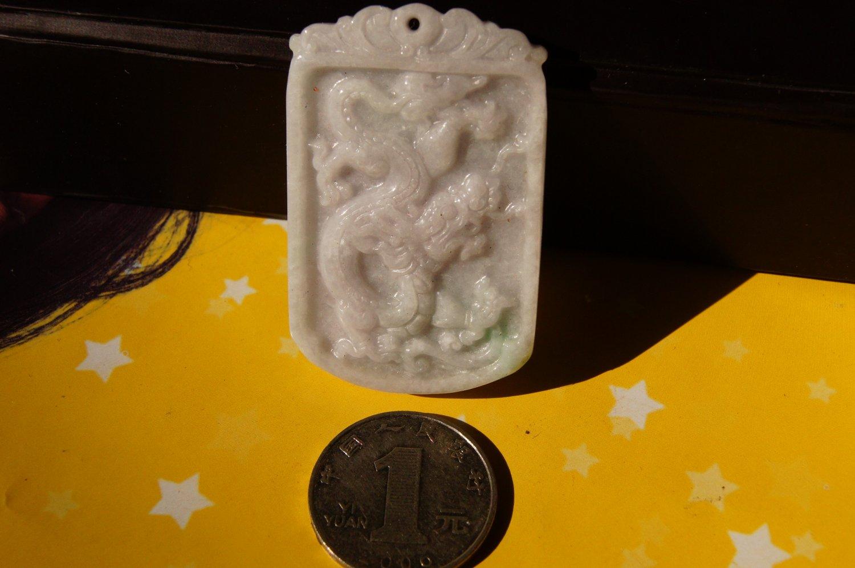 hand  Carving Dragon natural white Jade Pendant