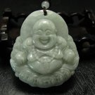 hand-carved Natural Green jade Laughing Buddha Jade charm Pendant/ necklace