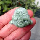 Hand carved real green jade Natural Green jade Laughing Buddha Head Laughing Buddha charm pendant