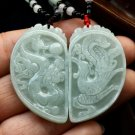 Good luck Hand- carved AAA Natural   jade dragon with  Phoenix charm Pendant