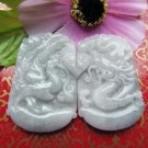 Good luck Hand- carved AAA Natural   jade dragon with  Phoenix charm white jade Pendant