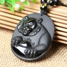 natural Obsidian stone tiger good luck chinese dragon pendant