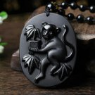 Scrub Natural Obsidian Zodiac Monkey Fortune Hing Choi