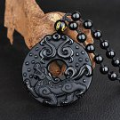 Natural obsidian stone dragon pendant necklace