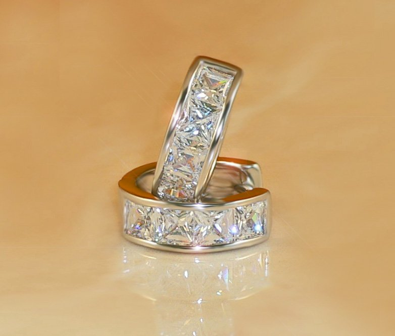 FREE SHIPPING 2ct 8-pc PRINCESS RUSSIAN SIMULATE DIAMOND EARRINGS