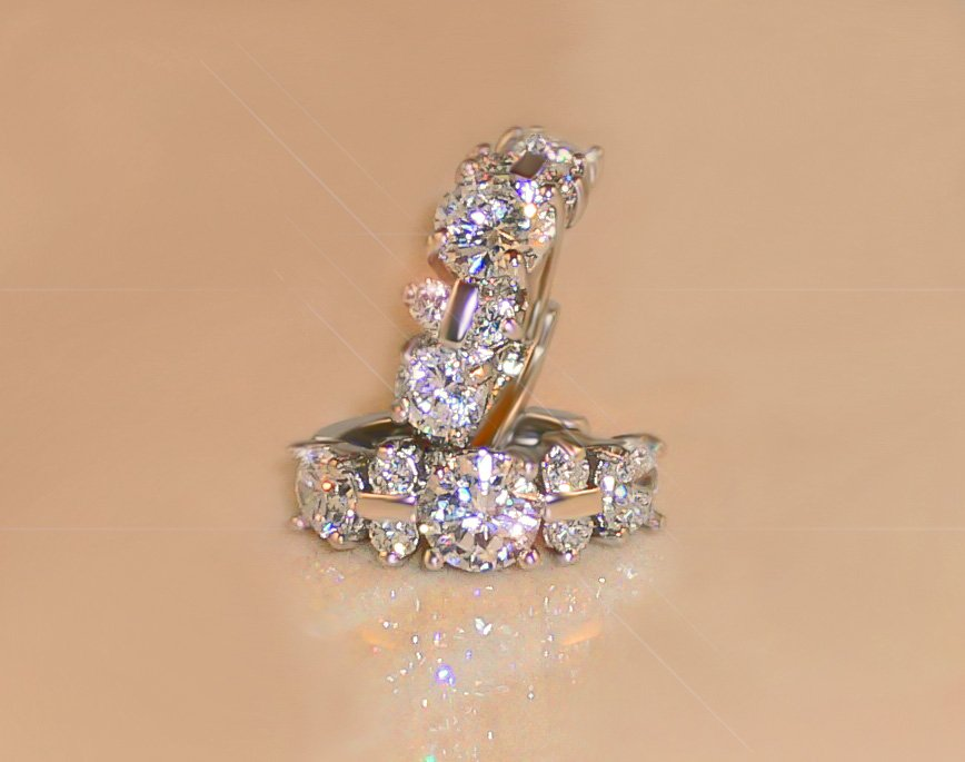 FREE Shipping 2.2ct 14-stone BRILLIANT RUSSIAN SIMULATE DIAMOND EARRINGS