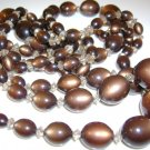 Vintage Necklace and Earrings Brown 1950s Bead