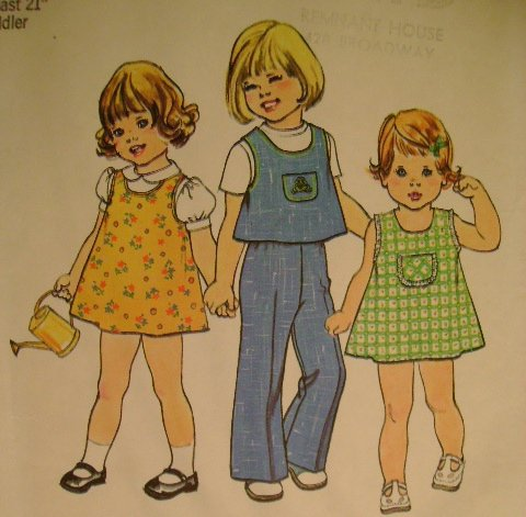 Vintage Sewing Pattern 1976 Simplicity 7364 Toddler Dress Top Pants
