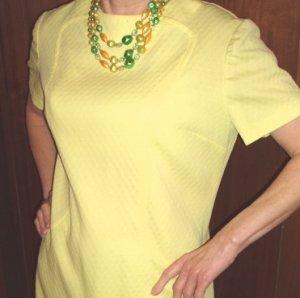 Vintage Dress Womens Yellow Short Sleeve