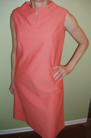 Vintage Dress Womens Peach Sleeveless