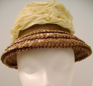 Vintage Hat Straw Sheer Cream