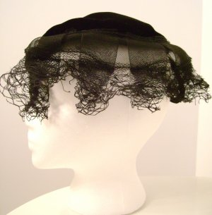 Vintage Hat Black Velvet Lace Netting