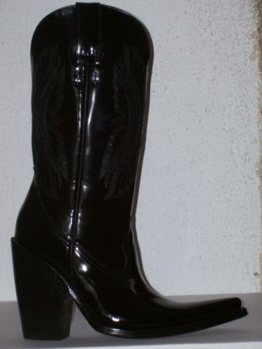 "PATENT LEATHER cowboy boots MEN # 8  HIGH  5"" HEELS"