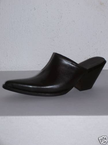 MULES SHOES BLACK SIZE 8.5 HELLS 3 INCHES100% LEATHER