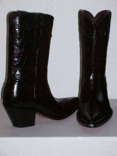 COWBOY BOOTS WOMAN 11 black  CROCODILE BELLY DESIGN