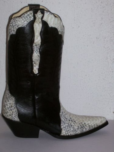 cowboy boot TRIAD WHITE PYTHON DESIGN AND BLACK  MEN 10
