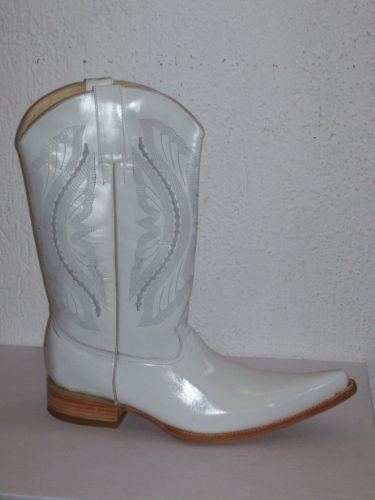 cowboy boot white 100% leather   MEN size  # 8