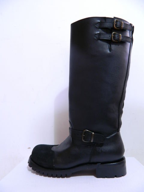 17 inches tall engineer boots leather backwards toe two belts at shaft top, new.
