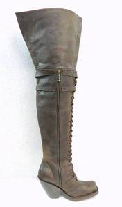 tight 34 inches tall boots square toe, zipper and shoe laces 4 inch heels CUSTOM