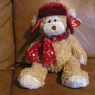 """2006 TY Hudson Bear 13"""" Tan Maroon and White Fleece Hat and Scarf"""