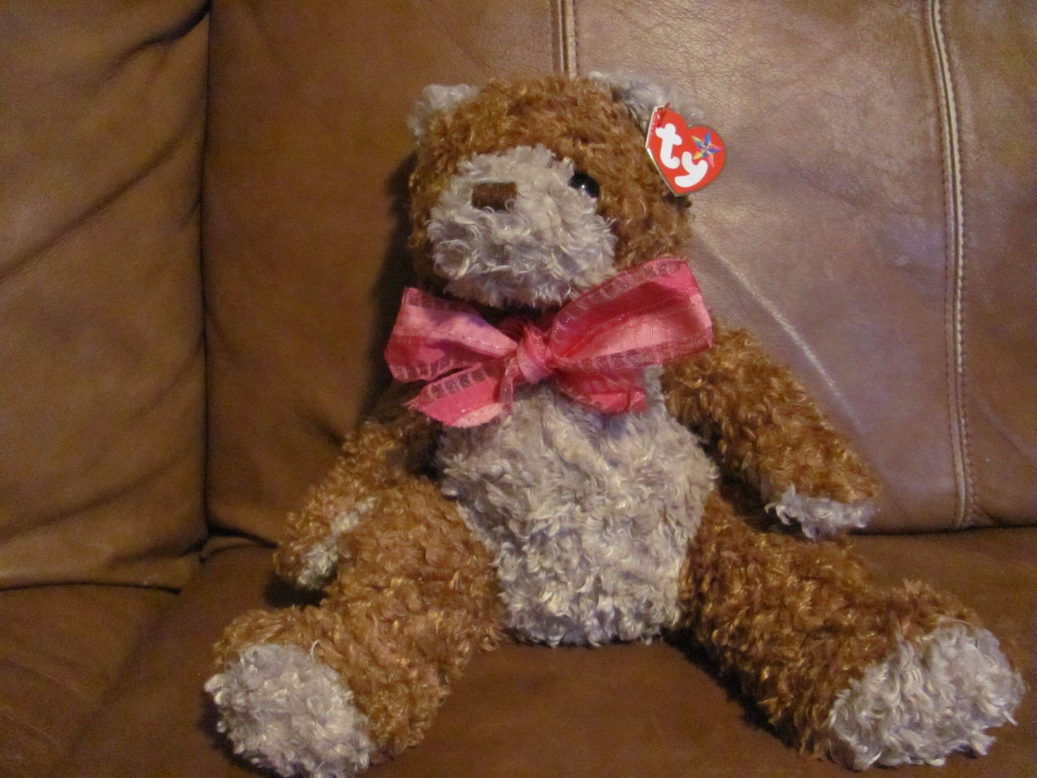 """2004Ty Beanie Buddies Whittle Bear 13""""  Brown Tan with pink bow tag in ear"""