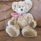"""Russ Berrie NWT #70200 Michael Bear 15"""" light brown Red and White Checker Ribbon"""