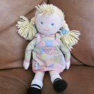 OshKosh Blonde Hair Girl Doll Lovey With Blue Bows Pastel Patch Work Jumper Dress12""