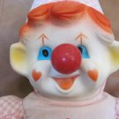 """Antique Ganz Bros.Toys LTD. Musical Wind Up Nose Clown 18"""" Pink And White Checkered With Rubber Face"""