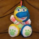 "Vintage 1991 Fisher Price Puffalump Dinosaur 9""Neon Yellow Blue Hot Pink Green"