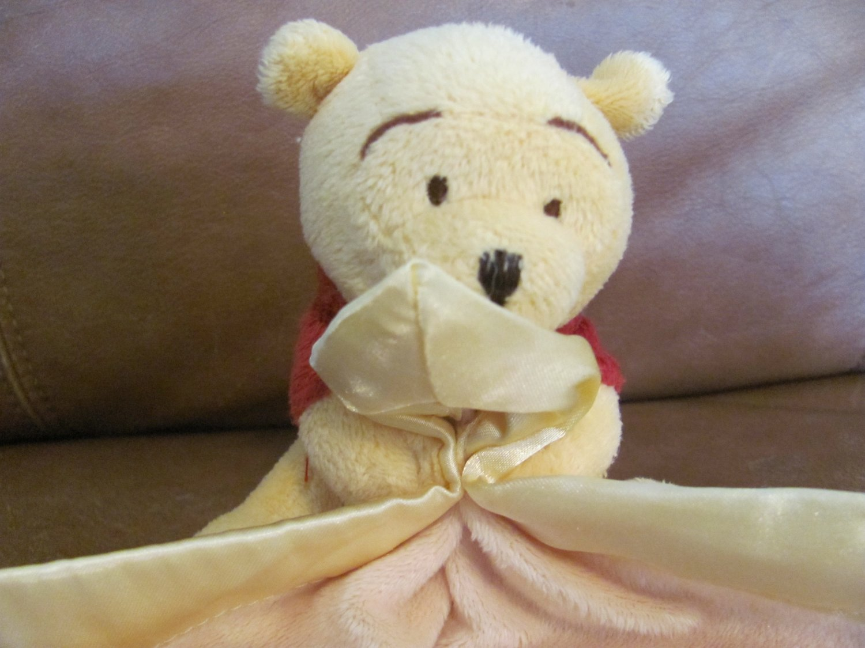 "Disney Baby Winnie The Pooh Yellow Red Shirt Lovey Blanket 10 1/2 x 11"""