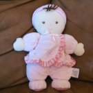 Carters Just One Year Pink Baby Doll Brunette Rattle Smock Shirt Bow Stripe Hat Lovey Plush Toy 10""