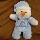 "Dandee Collectors Choice My First Christmas Snowman Doll Lovey Plush Blue Footy Pajamas Nightcap 9"""