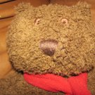 """Gap Kids Brown Bear With Red Scarf Old Fashion Curled Fur Lovey Plush 10"""""""