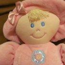 "Kids Preferrred Pink Girl Doll Blonde Hair Flower Dress Hat Shoes Lovey Plush 12"""
