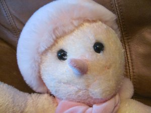 """2001 Commonwealth Snowoman Plush Lovey Pink And White Fur Pink Fuzzy Scarf And Hat 12"""""""