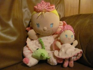 """2007 Fisher Price Fairy Princesses Perfectly Pink Discovery Plush Lovey Dolls 11"""" and 6"""""""