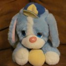 """Vintage 1987 Happiness Aid Is A Toy By Well Made Blue And White Puppy Dog Plush Lovey 10"""""""