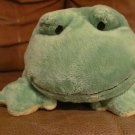 2009 Ty Pluffies Ponds Green Yellow Tylux Frog Lovey Plush 11""
