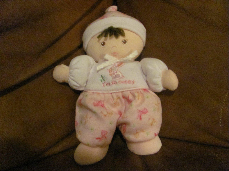 "Carters Tykes I'm So Cuddly Doll Rattle Pink Brunette Night Cap Bunny Footy PJS Lovey Plush 9"""