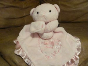 Carters Just One Year Pink Teddy Bear Sweet Rattles Pink Satin Security Blanket 13.5x14