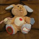"""Early Years Plush Dog Tan & Blue Learning Puppy Puppet Plush Lovey  9"""""""