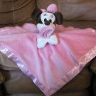 "Disney Baby Brown Minnie Mouse Cream Pink Micro Fleece Security Blanket 13.5""x13.5"""